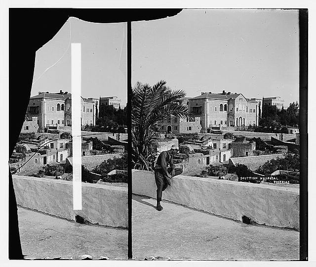 Scots Mission Hospital, Tiberias (Torrance). Scene from porch of doctor's house.