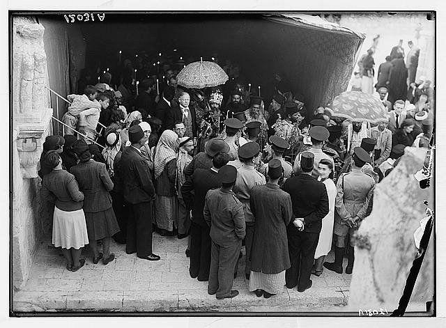 Calendar of religious ceremonies in Jer. [i.e., Jerusalem] Easter period, 1941. Ethiopian ceremony on roof of St. Helena Chapel