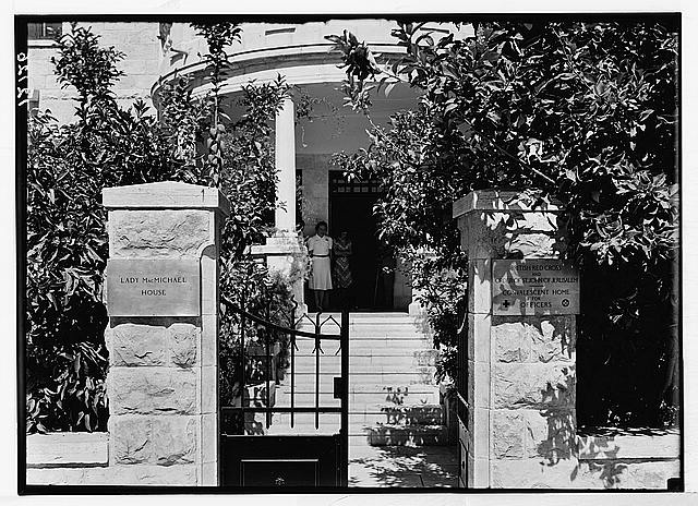 Lady McMichael [i.e., MacMichael] House (Knights of St. John's Br. Red Cross, convalescent house for officers). Entrance showing post signs