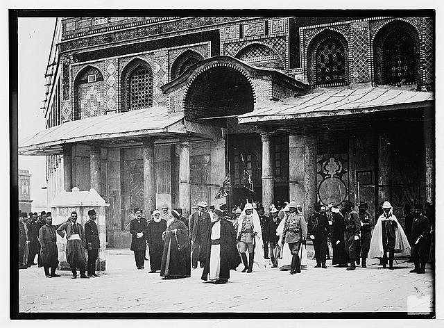 State visit to Jerusalem of Wilhelm II of Germany in 1898. Emperor and Empress at Mosque of Omar [i.e., Dome of the Rock].