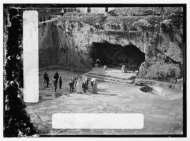 State visit to Jerusalem of Wilhelm II of Germany in 1898. Emperor and Empress at entrance to Tomb of Kings.
