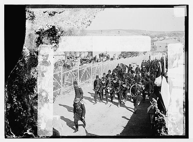 State visit to Jerusalem of Wilhelm II of Germany in 1898. Turkish military brass band in procession to German camp.