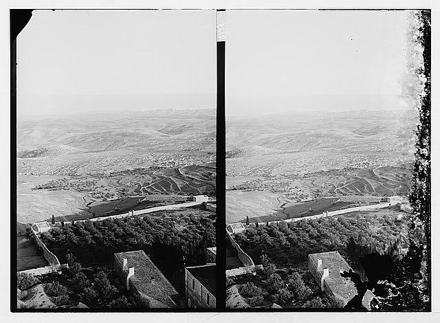 [View from the Russian Tower on the Mount of Olives, looking east toward Bethpage, Bethany, and the Dead Sea]