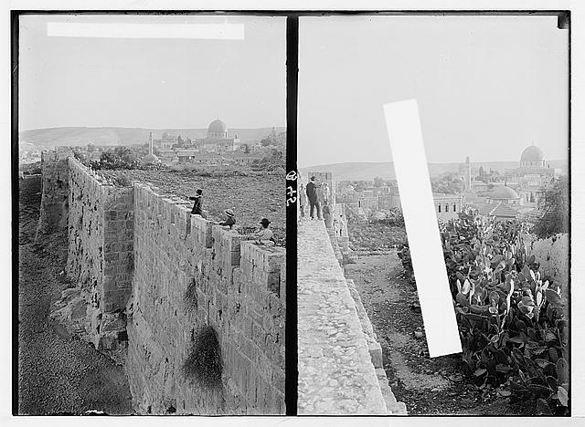 The rampart walk, on city wall [Jerusalem]. Mosque of Omar [i.e., Dome of the Rock] from the wall ; [Another view from the rampart walk on city wall].