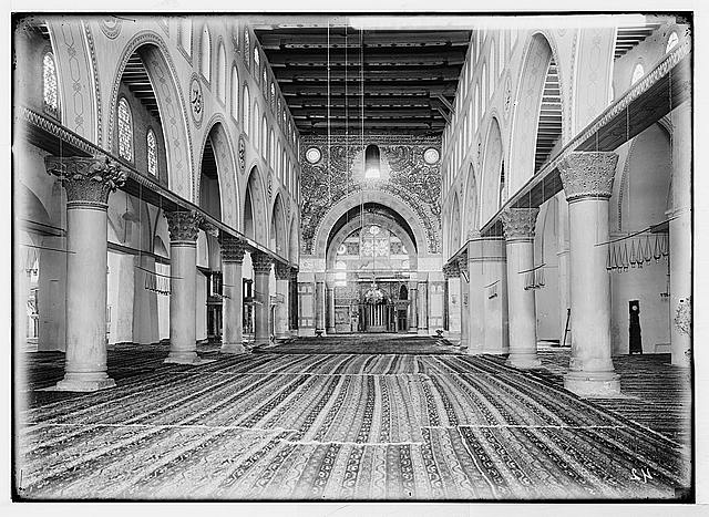 The Temple area. Jerusalem. The Mosque el-Aksa [i.e., al-Aqsa]. (Interior nave).