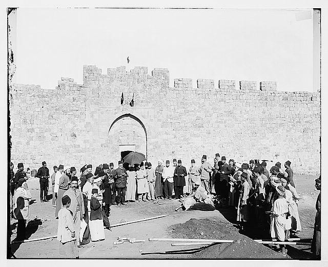 Sacrificial ceremony in front of Herod's Gate.