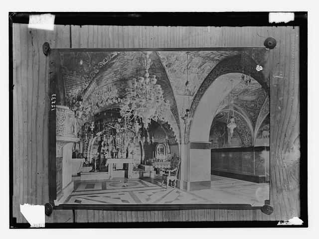 [Copy of photograph showing the Greek and Latin chapels on Calvary in the Church of the Holy Sepulchre, Jerusalem]