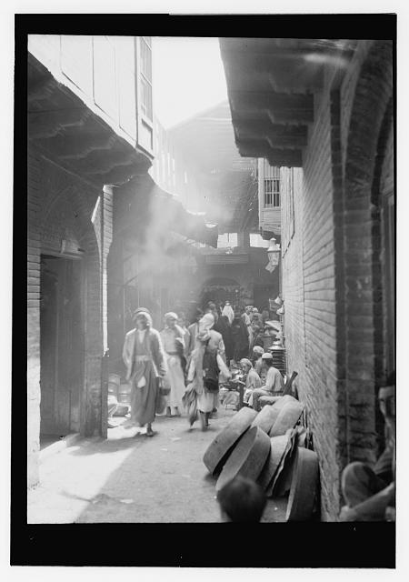 [Iraq. (Mesopotamia). Baghdad. Views, street scenes, and types. Side street near copper bazaar]
