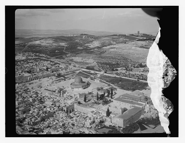 [Aerial view of Temple Mount and Western Wall from southwest]