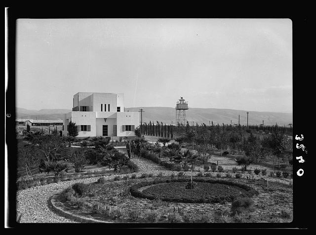 "The Palestine Electric Corporation Power Plant. Otherwise known as Rutenberg's Jordan Power Plant. The P.E.C. ""White House."" Mr. Rutenberg's home and offices"