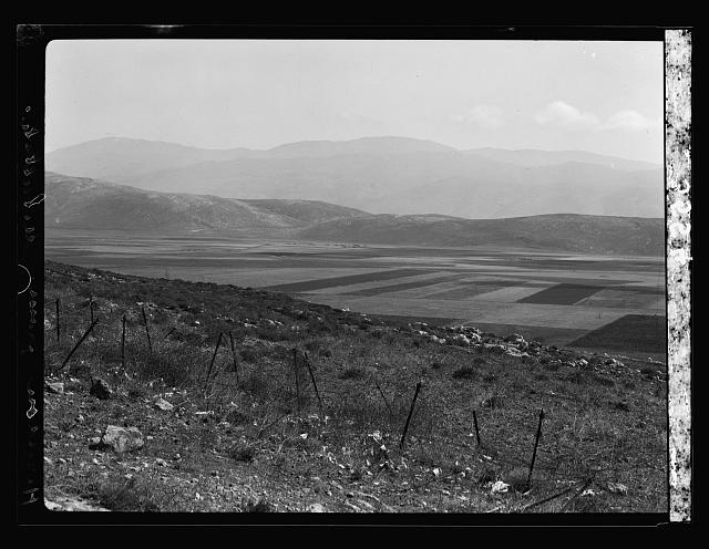 The Jordan Valley north of Lake Galilee. Hasbany Valley and Hermon looking down from French Metulla post