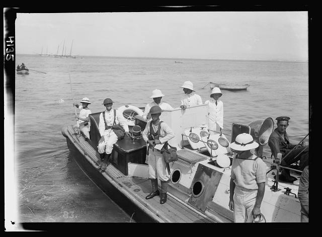 "Palestine events. The 1929 riots, August 23 to 31. British marines landing at Haifa from H.M.S. ""Barham"""