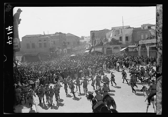 Arab demonstrations on Oct. 13 and 27, 1933. In Jerusalem and Jaffa. Demonstrators facing police baton charge. In the Jaffa gate [Jaffa Square]