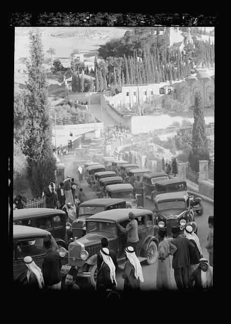 Arab demonstrations on Oct. 13 and 27, 1933. In Jerusalem and Jaffa. Return of Grand Mufti from India. Met by hundreds of cars at Gethsemane, Nov. 17, 1933