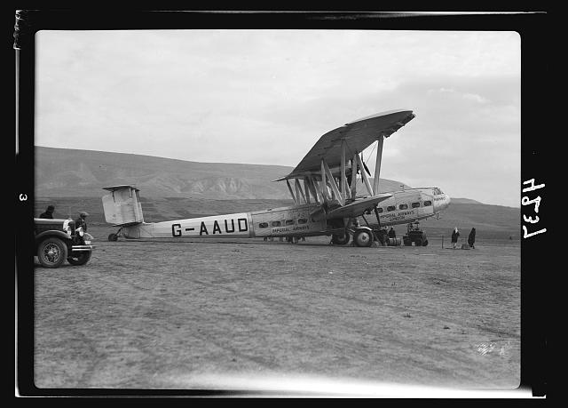 "Air views of Palestine. Aircrafts etc. of the Imperial Airways Ltd., on the Sea of Galilee and at Semakh. Aircraft ""Hanno"" at Semakh. Giant land plane at southern end of Galilee Lake"