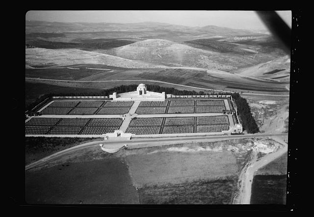 Air views of Palestine. Various on Scopus and Olivet. War cemetery and Olivet Road looking east