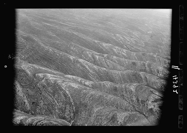Air views of Palestine. West of Jerusalem. Mountain scene S.W. of Jerusalem. An effective side view showing the general slope toward the Sharon Plain