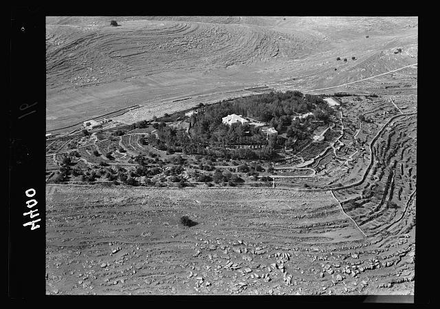 Air views of Palestine. West of Jerusalem. El-Kubeibi. Emmaus. German hospice W. of the village