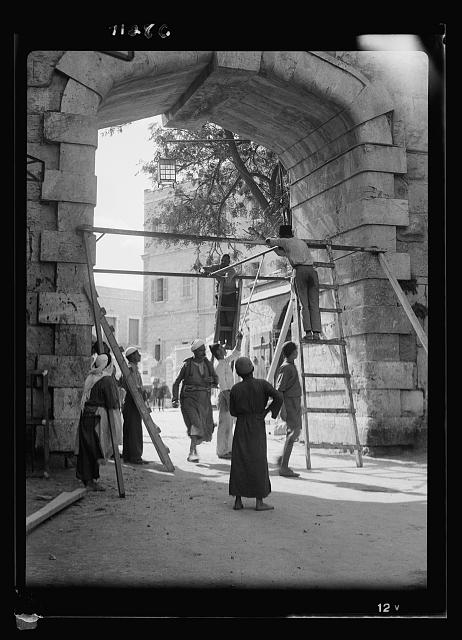Putting iron gates at the New Gate (Oct. 21, 1937)