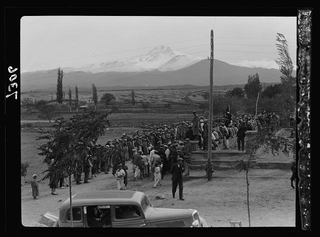 Turkey. Mt. Argeus & Injesu [i.e., Mount Erciyas & Incesu]. Celebration on Constitution Day
