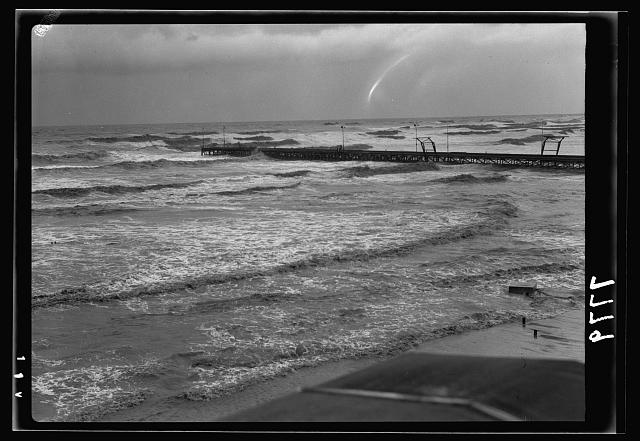 Official opening of Tel Aviv. The Tel Aviv jetty in storm. Distant view