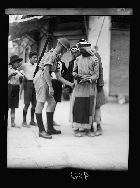 Palestine disturbances 1936. Searching citizens for arms at the Jaffa Gate