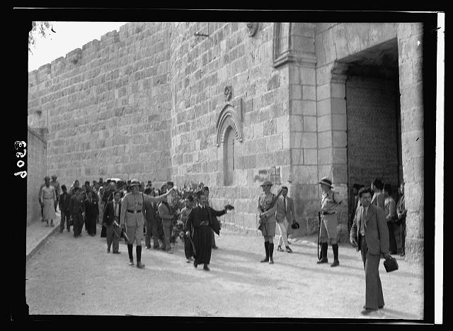 Palestine disturbances 1936. Funeral of Austrian shot dead whose coffin the inhabitants tried to bring back for church service from cemetery