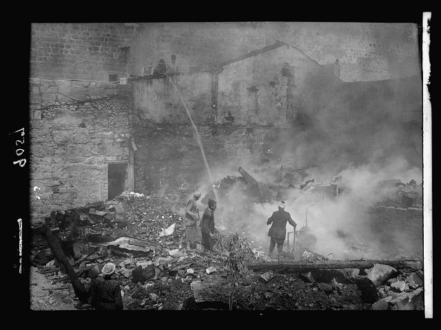 Palestine disturbances 1936. A fire in the Armenian Quarter