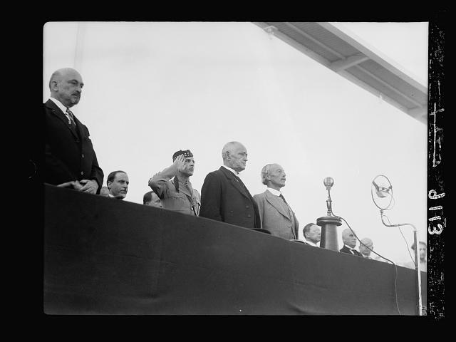 Palestine disturbances 1936. Dr. Weizman [i.e., Weizmann], Mr. Dizingoff and the High Commissioner at the opening ceremony [Tel Aviv]