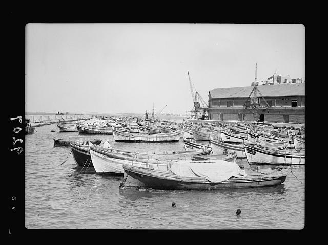 Palestine disturbances 1936. Jaffa harbour as during the six months of strike