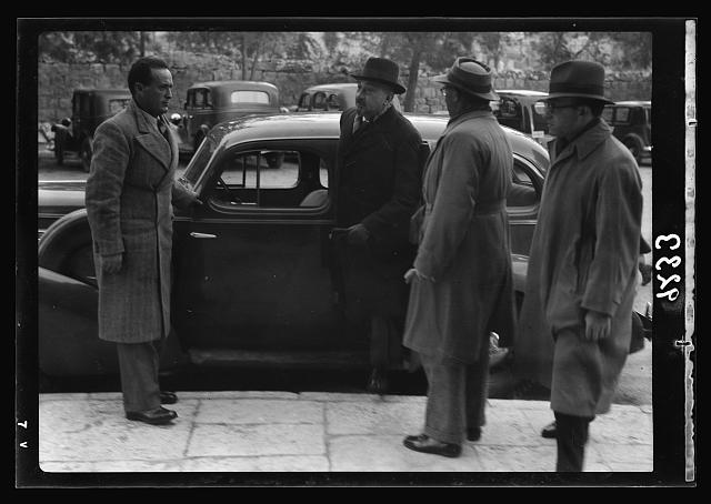 Palestine disturbances 1936. Dr. Chaim Weisman [i.e., Weizmann] at the Office of the Royal Commission in his car