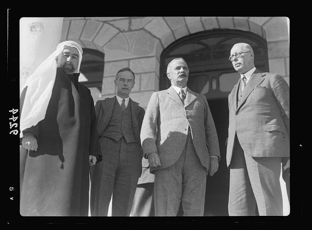 Palestine disturbances 1936. Members of the Royal Commission entertained by H.H. Emir Abdullah in his palace, on January 11, 1937