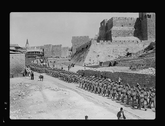 "[Palestine disturbances 1936. The Scots Guards parade passing down Bethlehem road below the so-called ""Citadel""]"