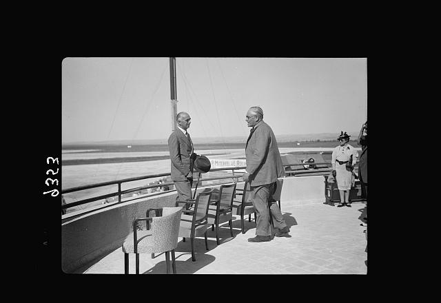 Wings over Palestine-Certificates of Flying School, April 21, 1939. Sir Harrold with Major Gumbley (Dir. Of Civil Aviation) [Lydda Air Port]