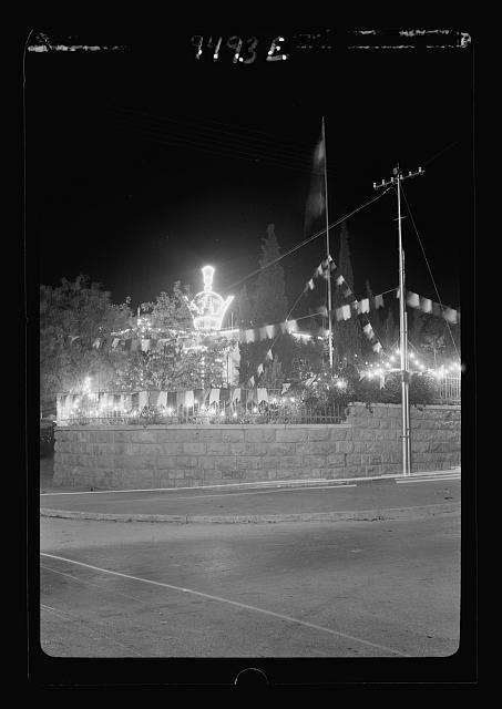 Iranian Consulate. Night illuminations, April 25, 1939. Celebration of King's birthday & marriage of crown prince