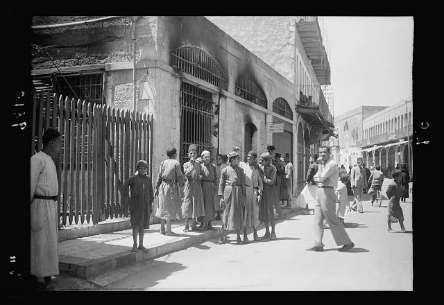 Hebron attack, August, 19, 1938. Post Office in Hebron burned by gang attackers on town