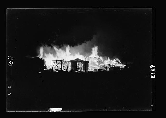 Night incindiary [i.e., incendiary] of coal and lumber yards near railroad station