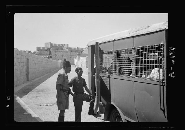 Caged-in Jerusalem buss [i.e., bus]