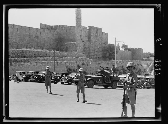 Citadel area at Jaffa Gate under military patrol during court rehearsal on Aug 22, '38 of bomb incident on July 8