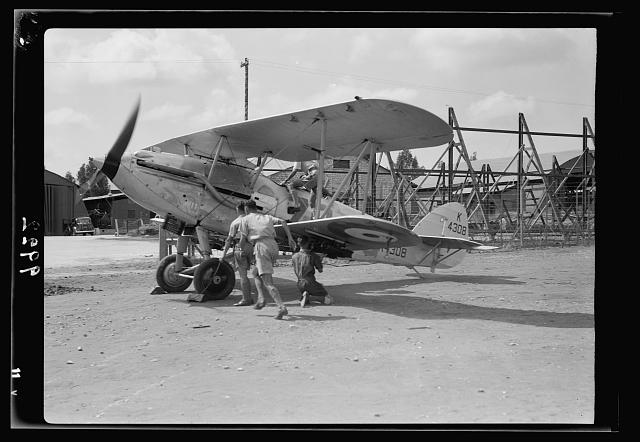 R.A.F. activities. Stand by plane starting off [Ramleh Aerodrome]