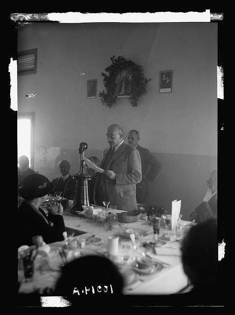 King George V Jubilee Forest Inauguration at Nahalal. Dr. Charles Weitzman [i.e., Weizmann] before the microphone at dinner celebrating the occasion - first broadcast in Hebrew language