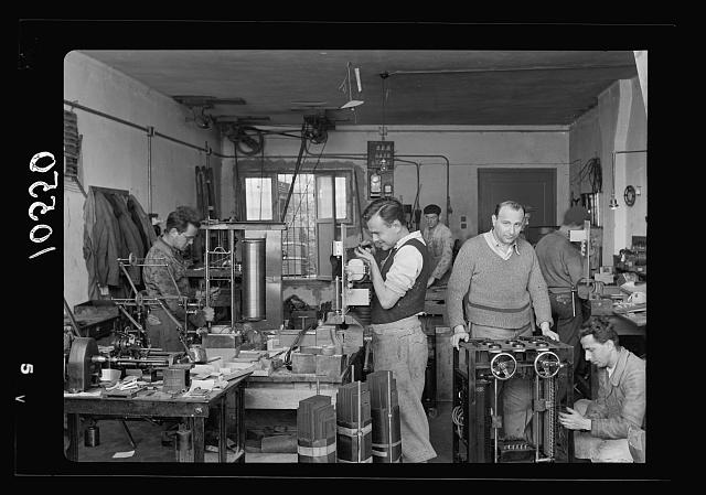 Jewish factories in Palestine on Plain of Sharon & along the coast to Haifa. Tel Aviv. Complicated electrical appliances factory, Int[erior]
