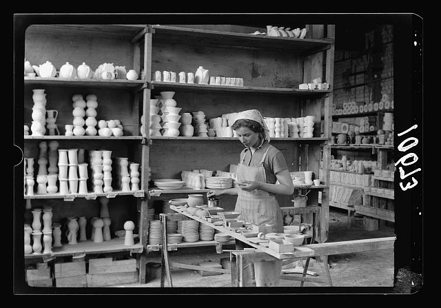 "Jewish factories in Palestine on Plain of Sharon & along the coast to Haifa. Haifa. The ""Kadar"" Ltd. Ceramics. Hand painting on burnt articles"