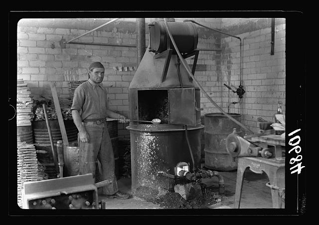 "Jewish factories in Palestine on Plain of Sharon & along the coast to Haifa. Haifa. The ""Ady"" Storage Batteries Co. The smelting pot. Plates & parts are east from composition metal"