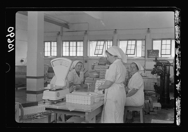 Jewish factories in Palestine on Plain of Sharon & along the coast to Haifa. Haifa. The margarine works. Transforming the products