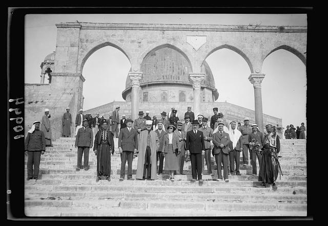 French High Commissioner for Syria visits the Temple Area in Jerusalem, Nov. 18, '39. H.E. (i.e., His Excellency) the High Commissioner of Syria, M. Gabriel Puaux & party, on steps, mosque backgr[ound]