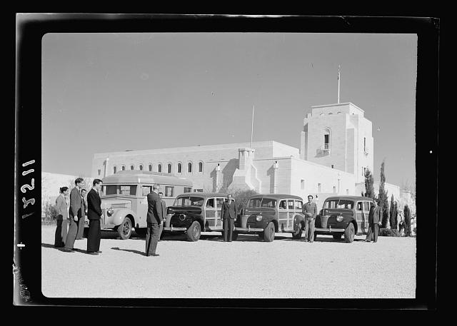 Inspection by H.E. [i.e., His Excellency] the High Commissioner, of cinema[?] cars en route to Baghdad - Iraq. H.E. [i.e., His Excellency] the High Commissioner arriving to inspect the cars