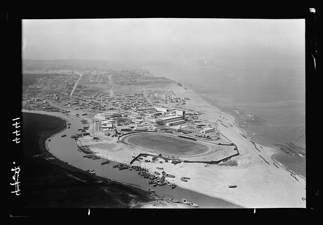 Air views of Palestine. Jaffa, Auji River and Levant Fair. Jewish stadium near the Auji River