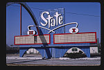 State Drive-In Theater sign, wide view showing entire arch, Route 24, State Avenue