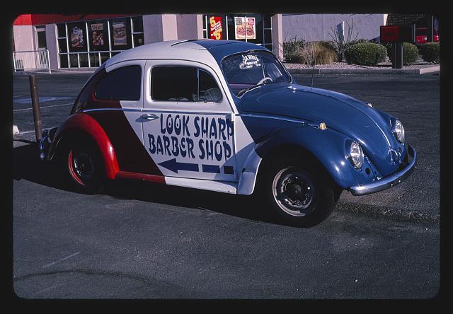 Look Sharp Barber Shop sign (painted 1969 Volkswagen), Yuma, Arizona